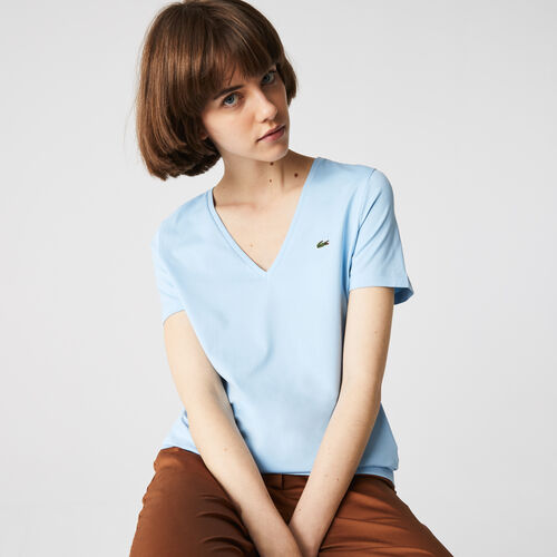 Women's V-neck Loose Fit Cotton T-shirt