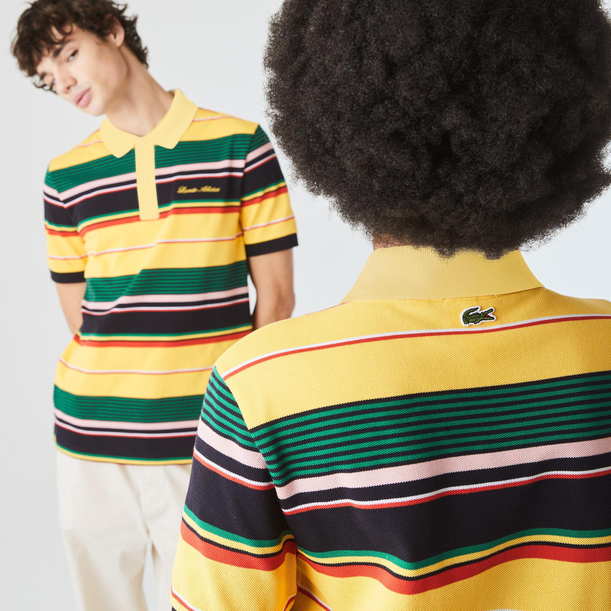 قميص بولو مقلم مطرز من بيكيه القطن مجموعة Lacoste LIVE للجنسين