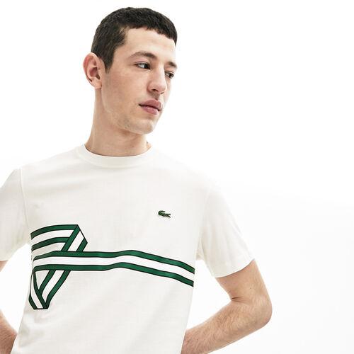 Men's Stripe Print Crew Neck T-shirt