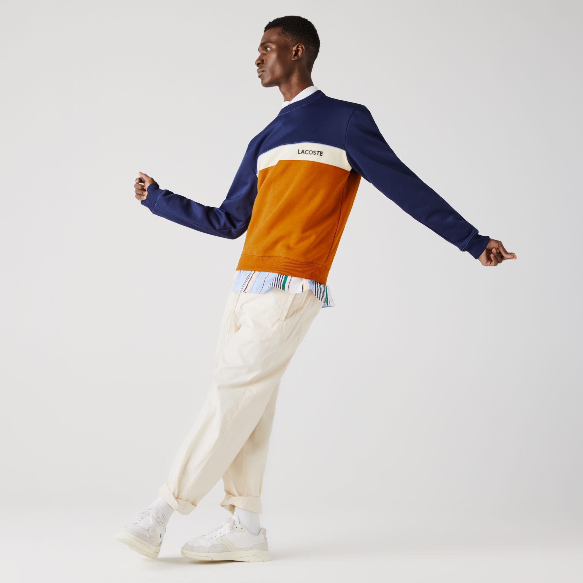 Men's Crew Neck Lettering Colourblock Piqué Sweatshirt