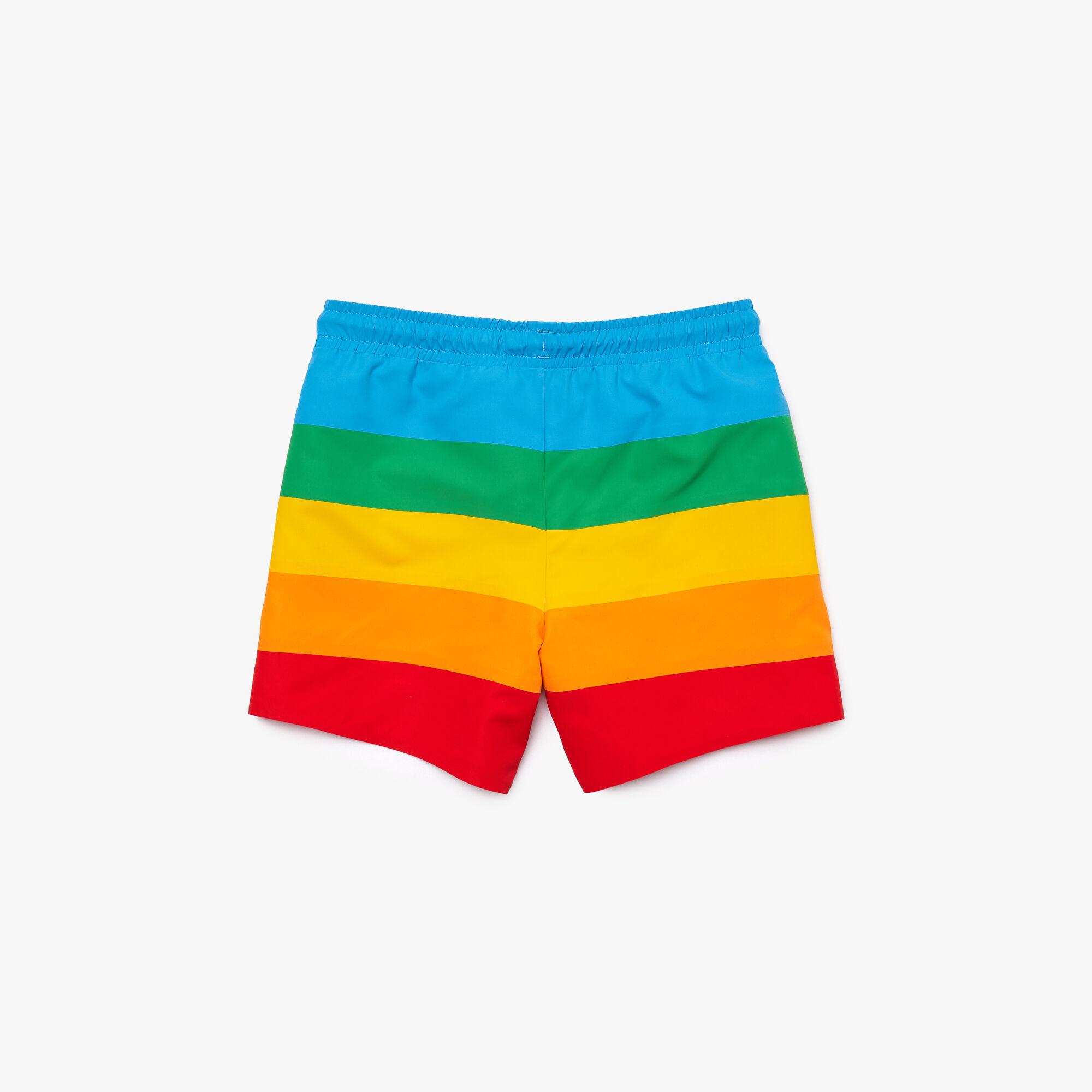 Boys' Polaroid Collaboration Color Striped Swimming Trunks