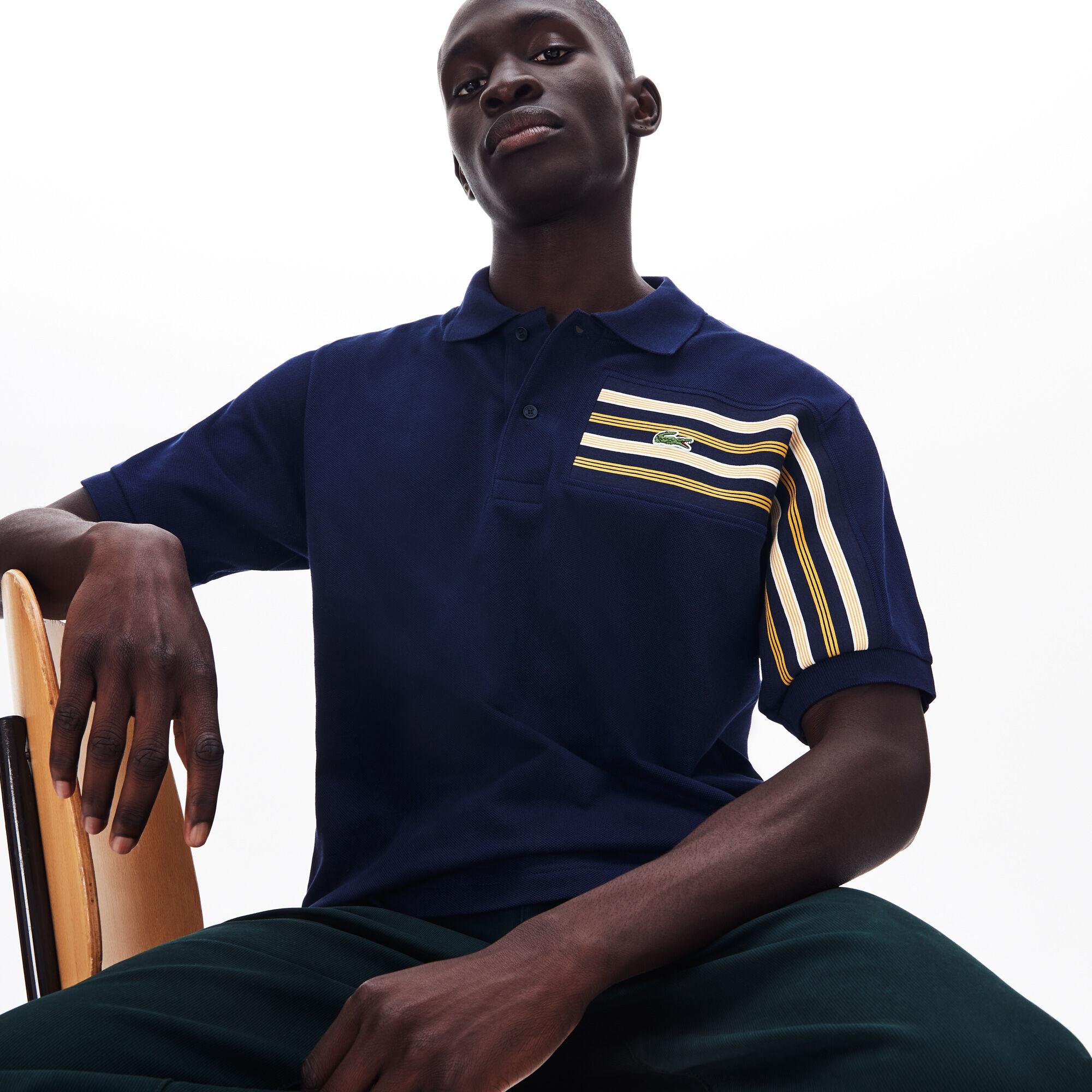 Men's Lacoste L.12.12 Striped Panel Cotton Piqué Polo Shirt