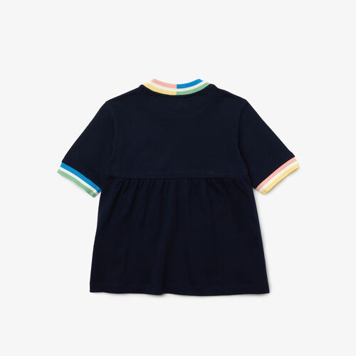 Girls' Striped Accents Flounced Cotton T-shirt