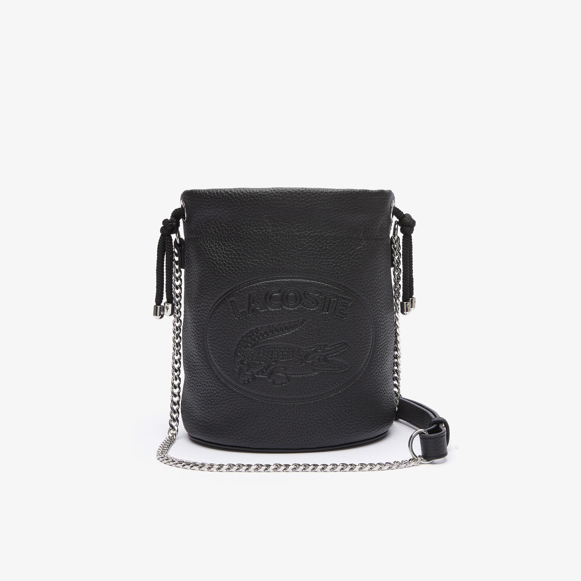 حقيبة بوكيت من الجلد المحبب مجموعة Croco Crew للنساء