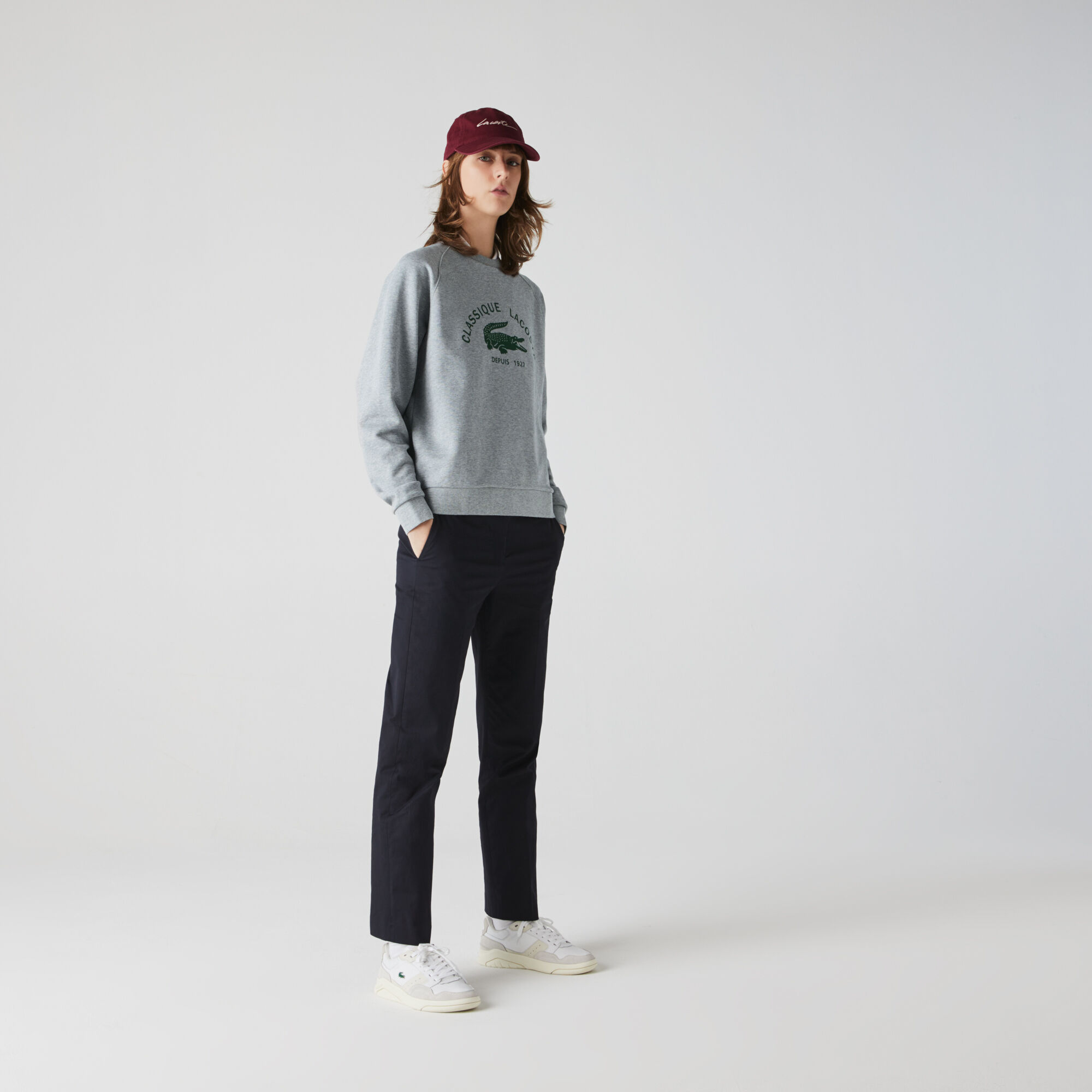 Women's Crew Neck Vintage Print Lightweight Cotton Fleece Sweatshirt