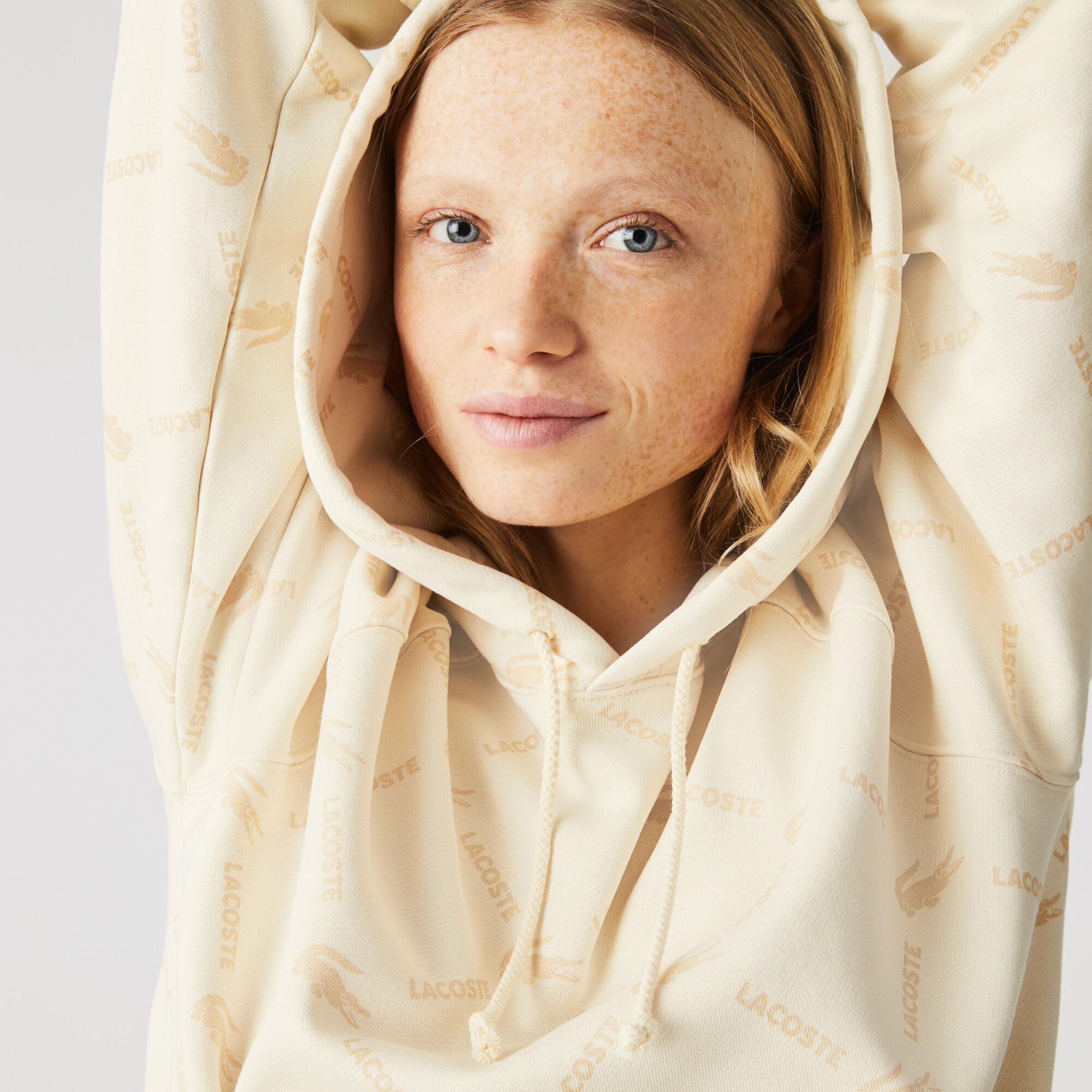 Unisex Lacoste LIVE Loose Fit Hooded Monogram Cotton Sweatshirt