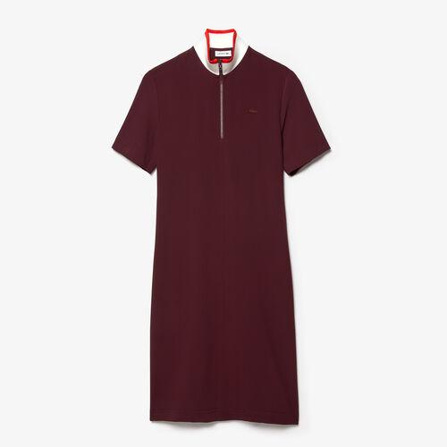 Women's Full Zip Flowy Polo Dress