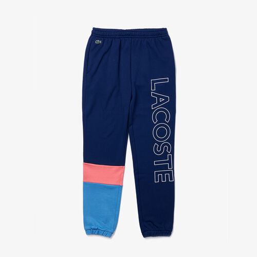 Men's Lettered Colorblock Fleece Tracksuit Pants