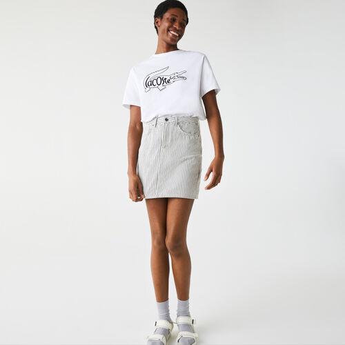 Women's Crew Neck Crocodile Print Cotton T-shirt