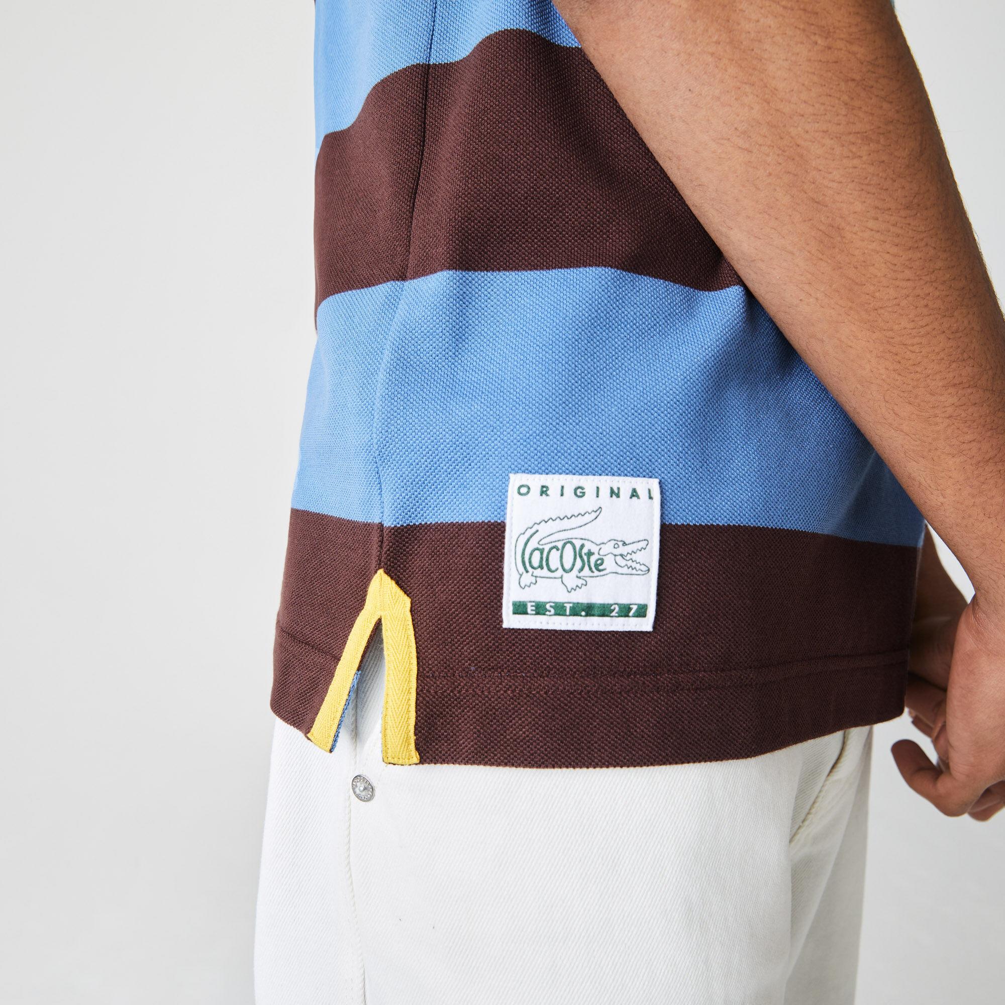 قميص بولو مخطط للرجال قصة عادية من بيكيه القطن