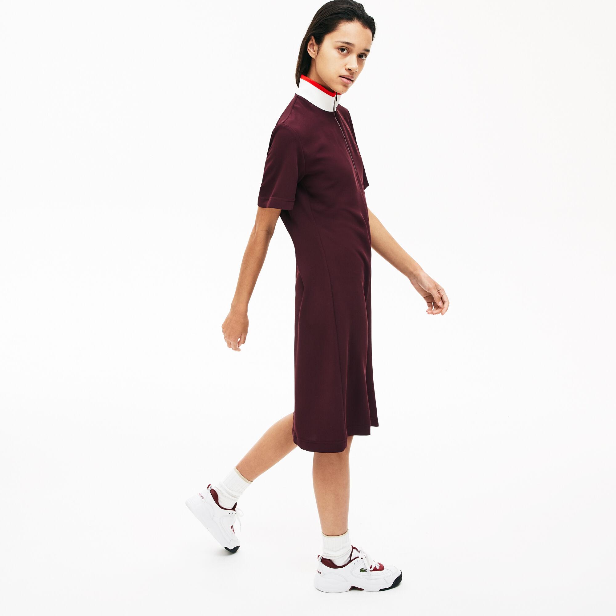 فستان بولو فضفاض للسيدات بسحاب كامل من الأمام