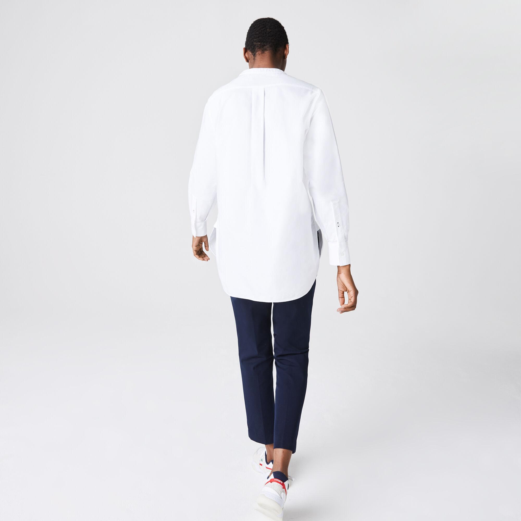 Women's Regular Fit Mandarin Collar Oxford Cotton Shirt