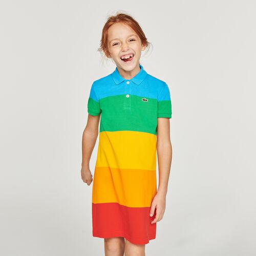 فستان بولو ملون مقلم للبنات من مجموعة Polaroid