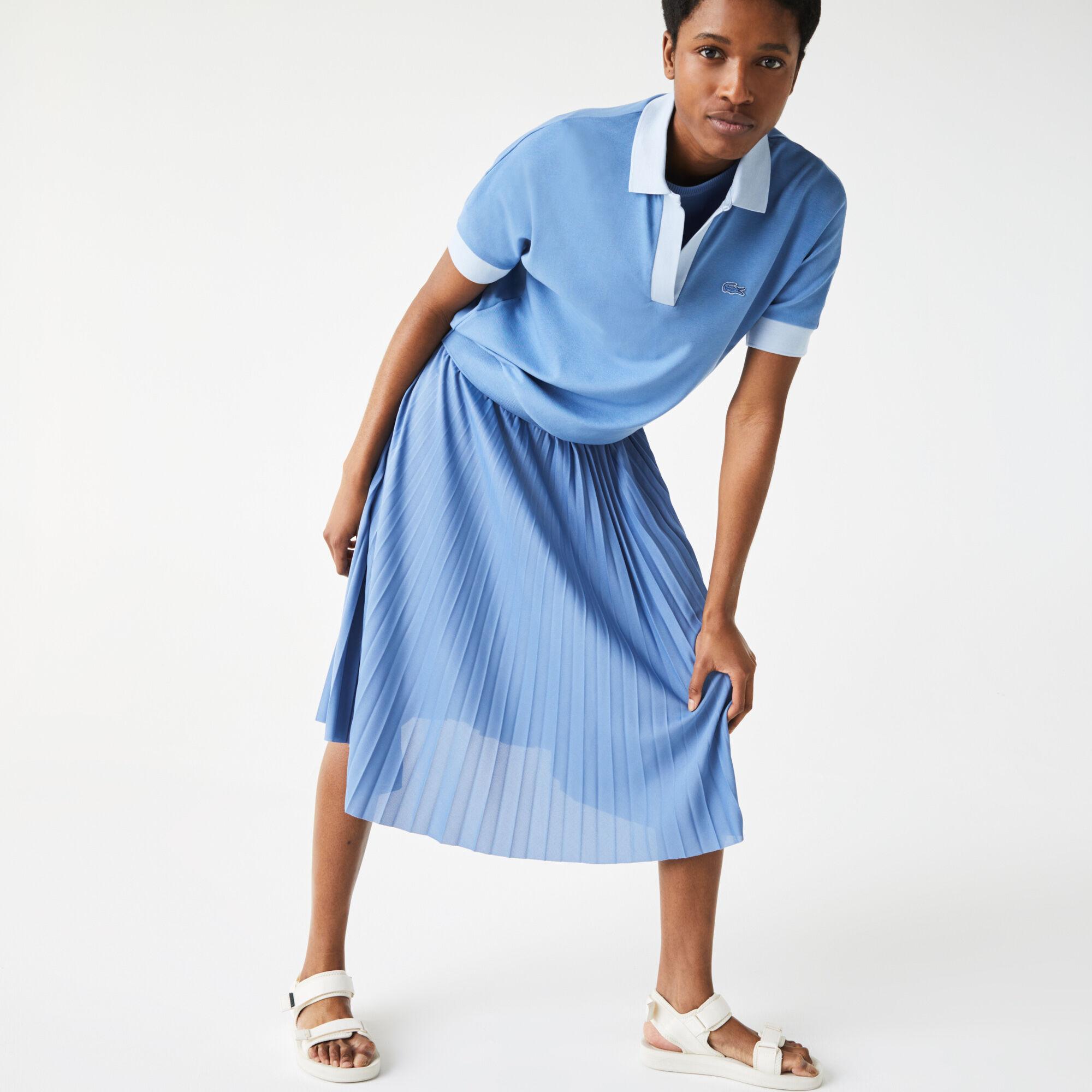 Women's Lacoste Loose Fit Open Collar Flowing Piqué Polo