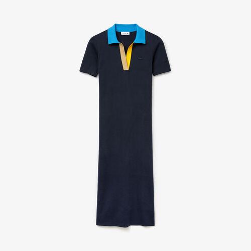 Women's Polo Collar Two-tone Cotton Knit Long Sweater Dress