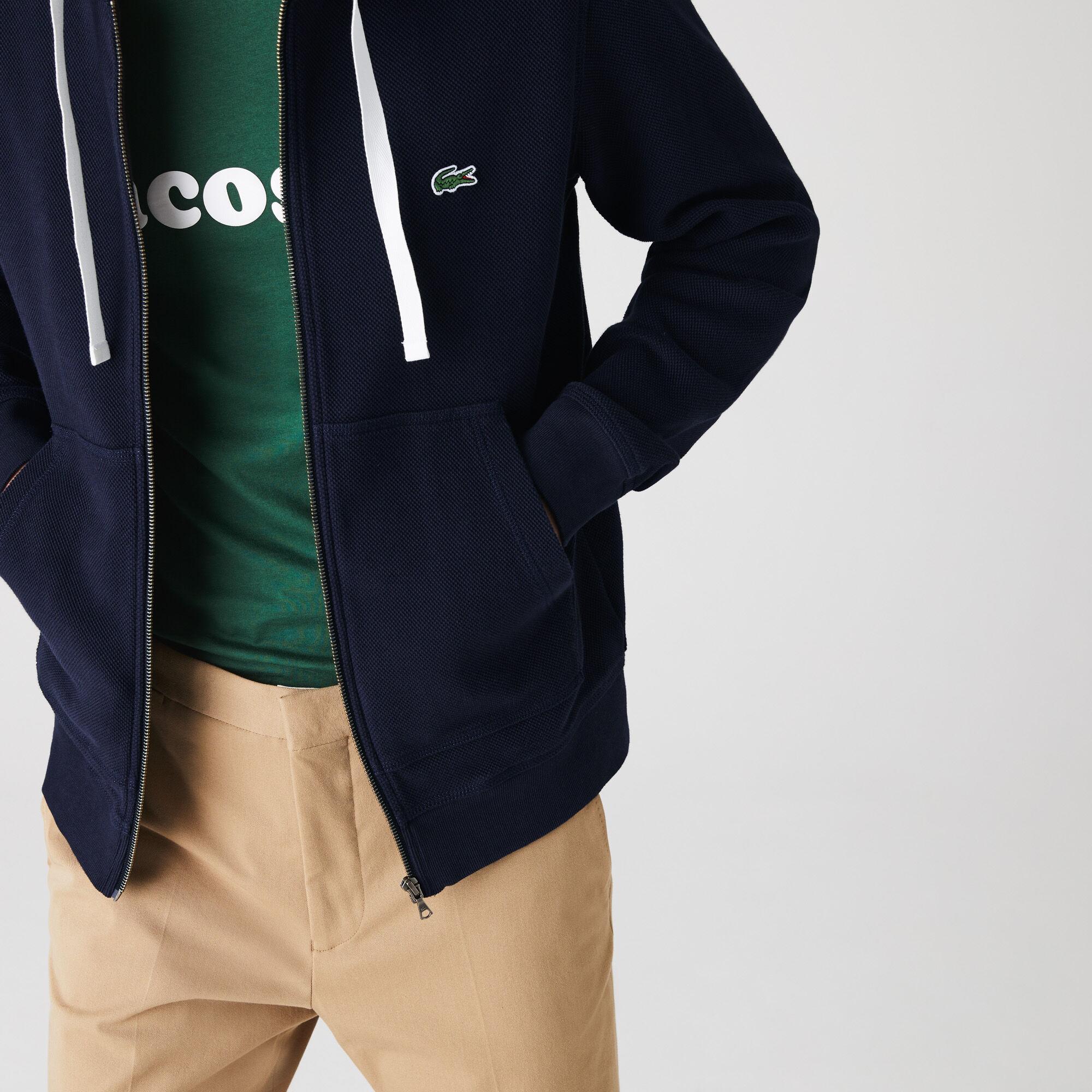 Men's Zip Hooded Organic Cotton Piqué Sweatshirt