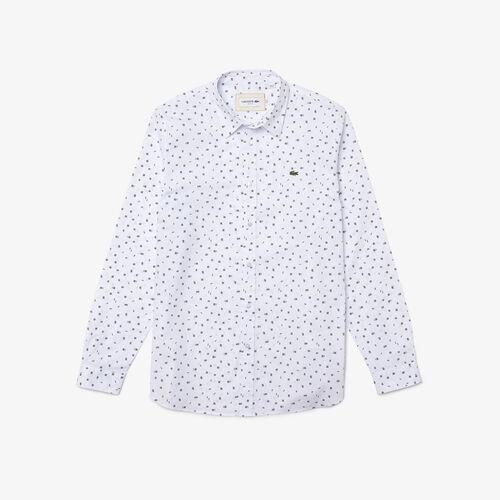 Men's Slim Fit Finely Patterned Cotton Poplin Shirt