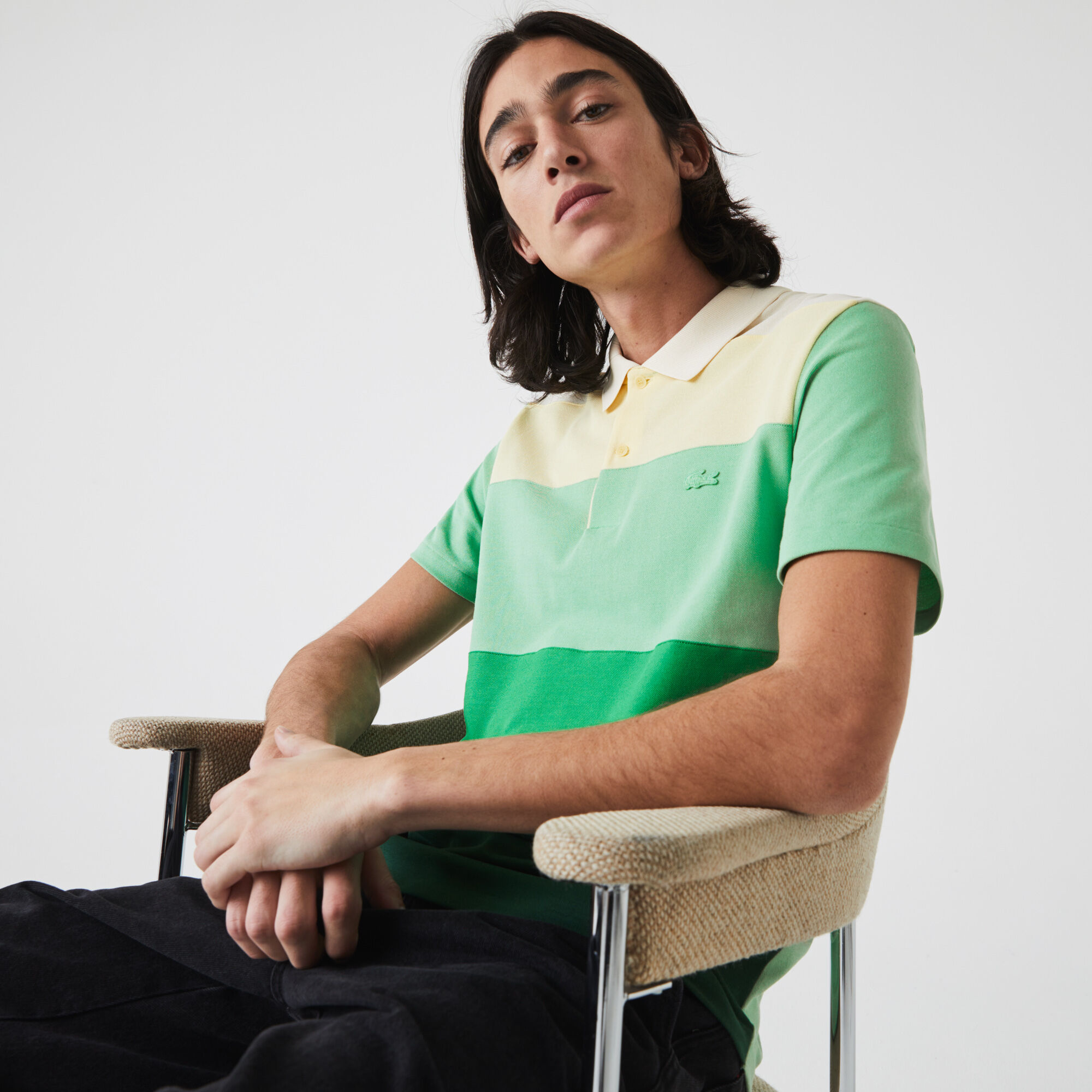 قميص بولو من بيكيه القطن الجديد للرجال قصة عادية وكتل لونية