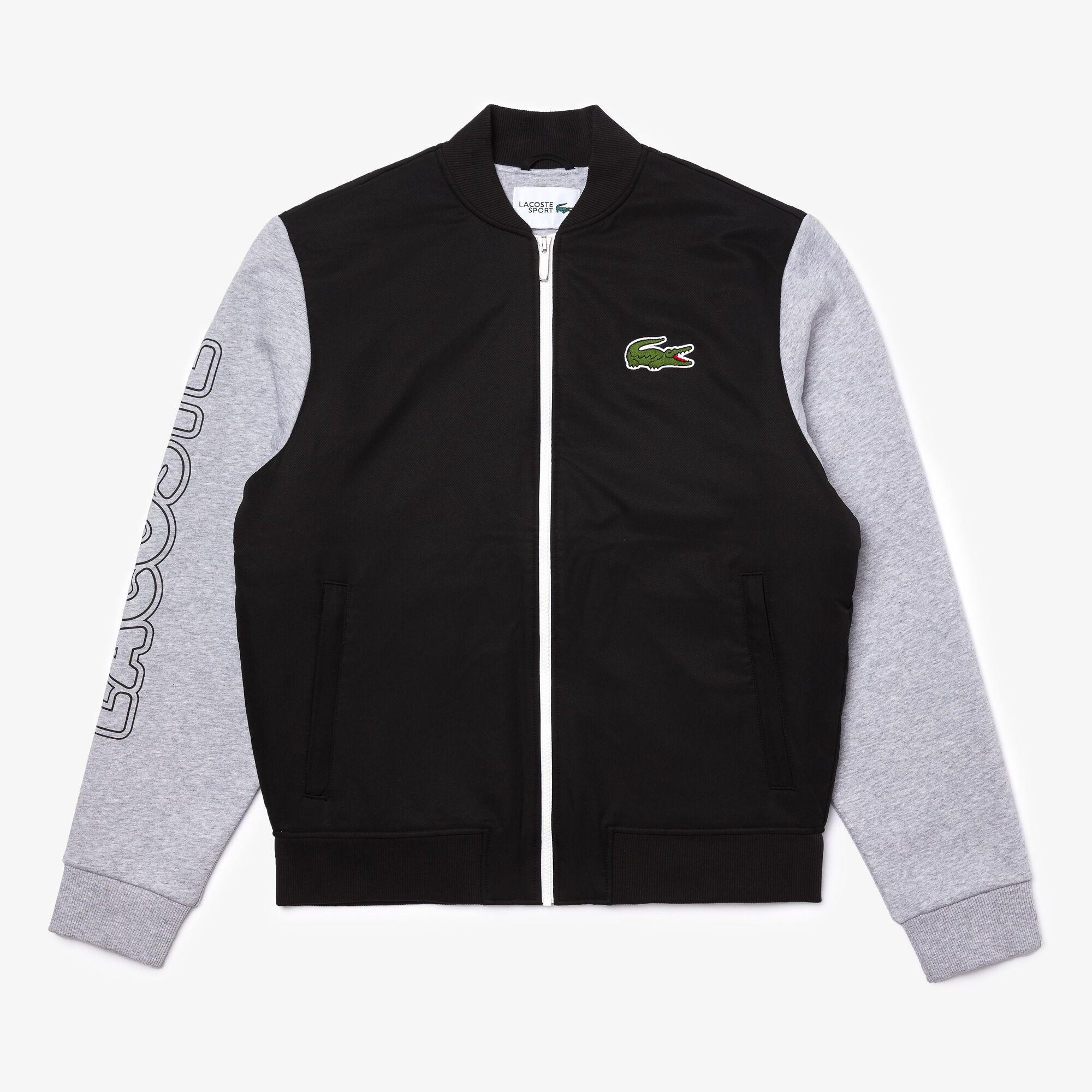 Men's Lacoste SPORT Two-Tone Print Fleece Zip Teddy Jacket