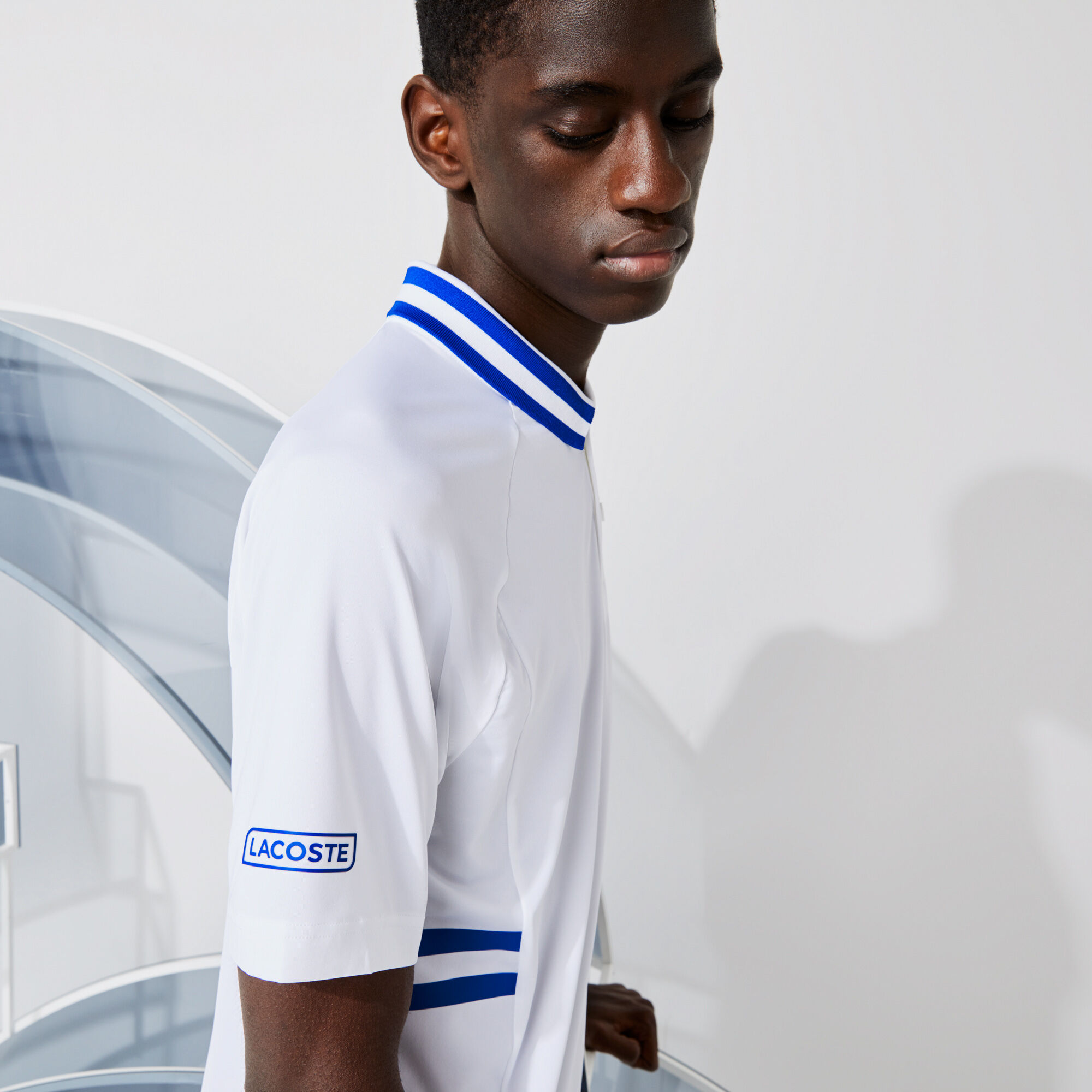 قميص بولو مسامي للرجال فائق الجفاف مجموعة Lacoste SPORT و Novak Djokovic