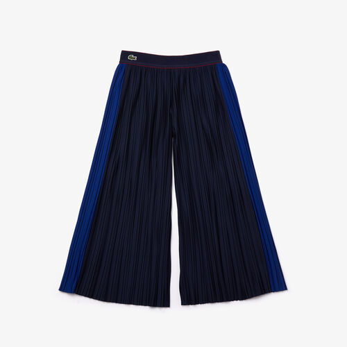 Girls' Flared Pleated Knit Pants
