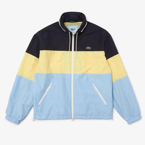 Men's Concealed Hood Water-resistant Colorblock Jacket