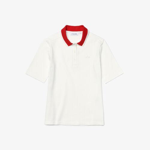 قميص بولو نسائي من قطن بيكيه المرن بياقة ضيقة وملون من Lacoste