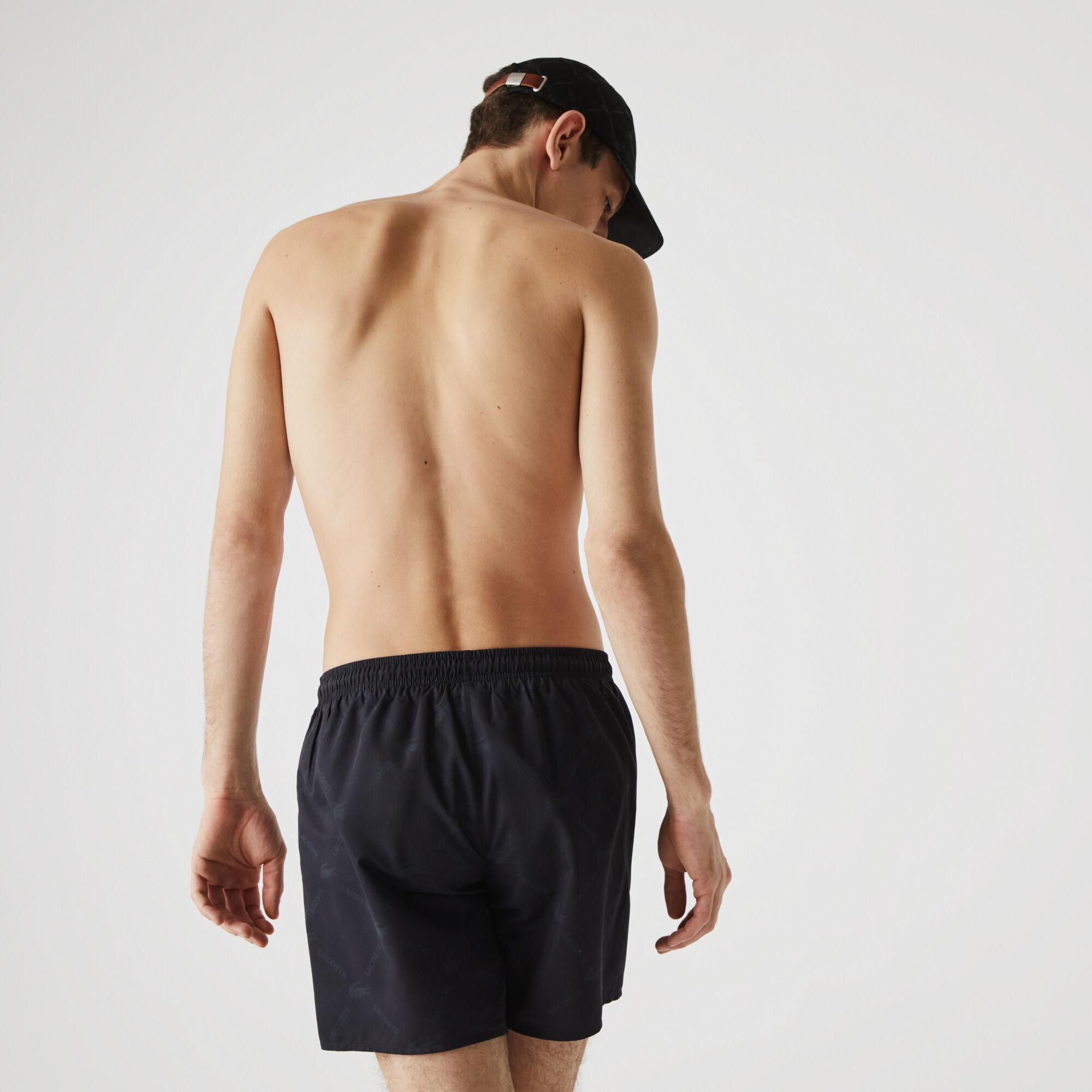 Men's Lacoste LIVE Monogram Print Swimming Trunks