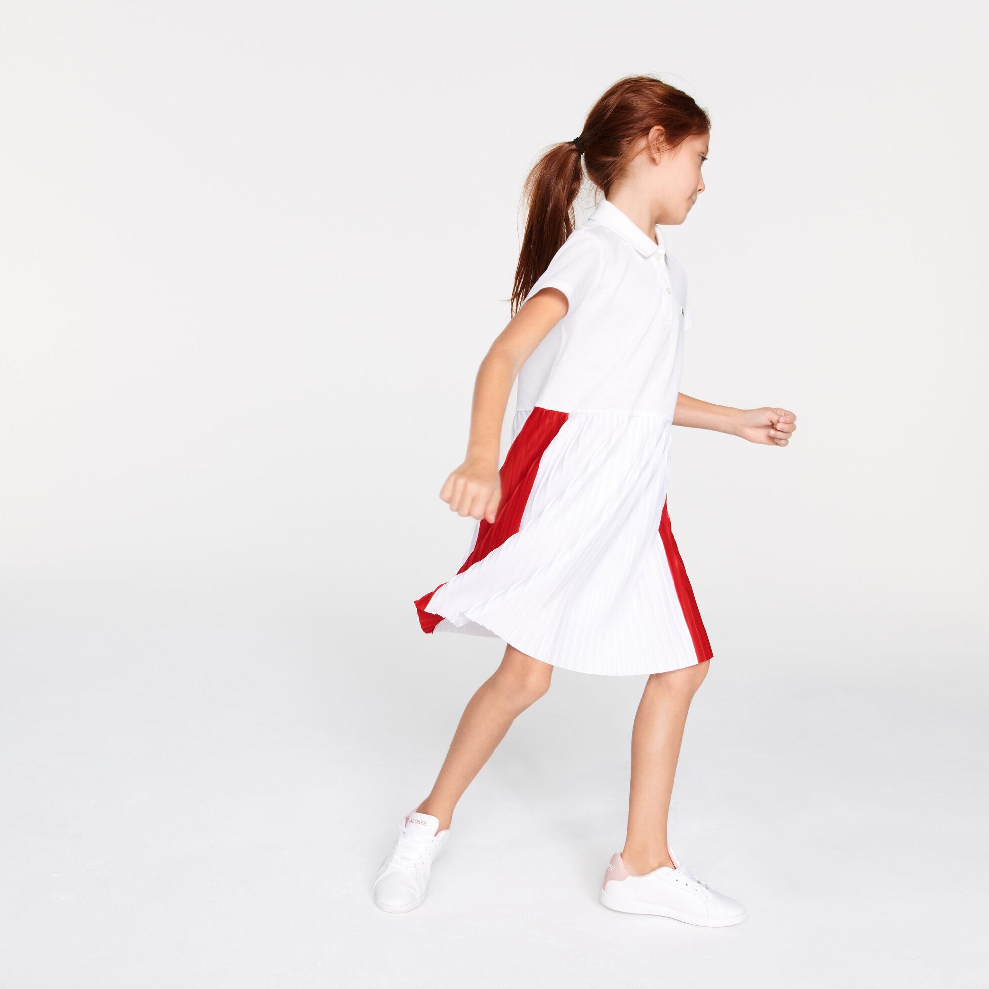 Girls' Pleated Lightweight Cotton Piqué Polo Dress