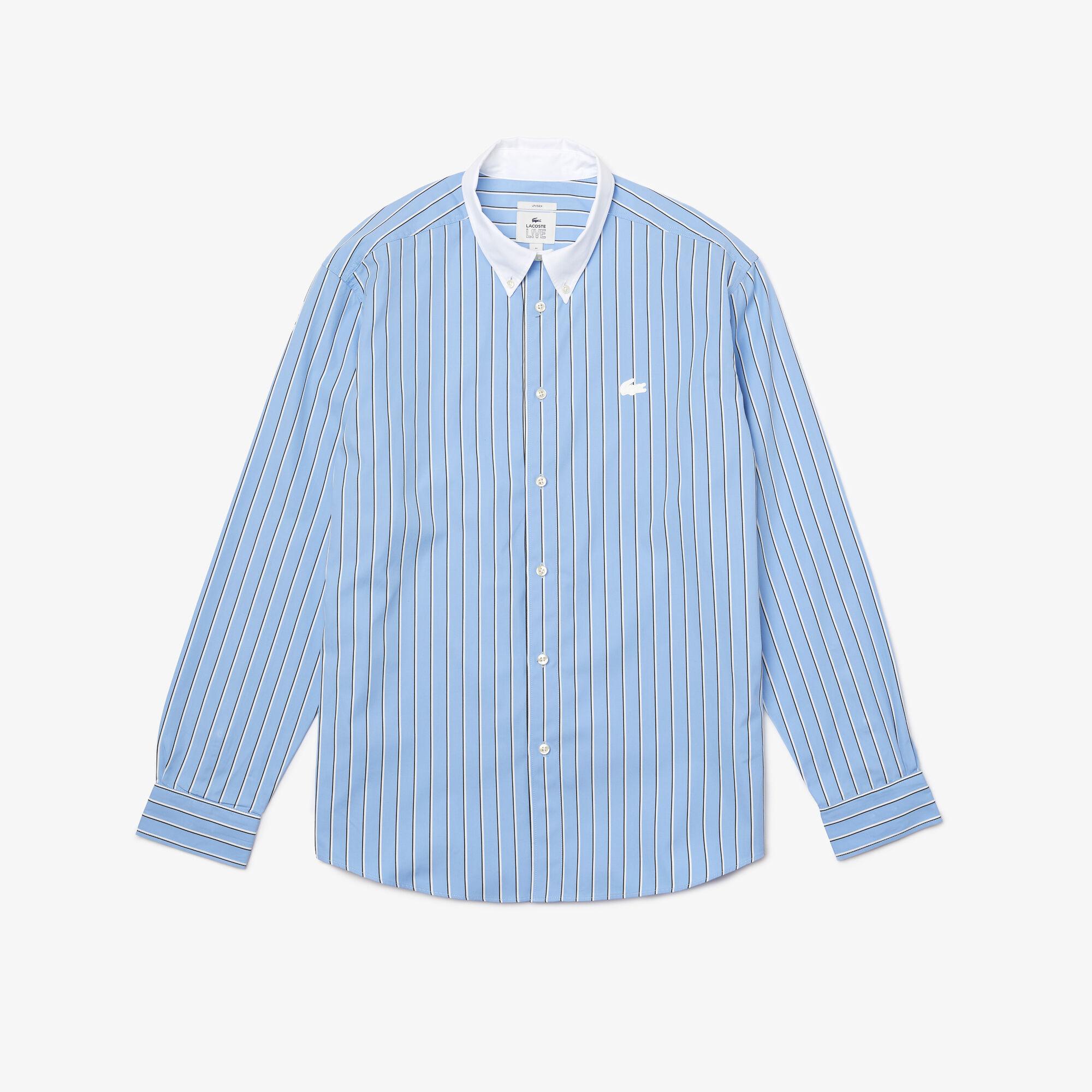 Unisex Lacoste LIVE Striped Cotton Shirt