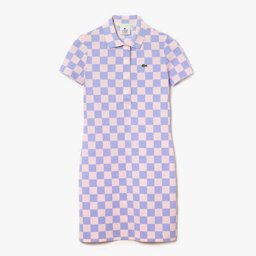 Women's Lacoste Live Checkerboard Pattern Cotton Piqué Polo Dress