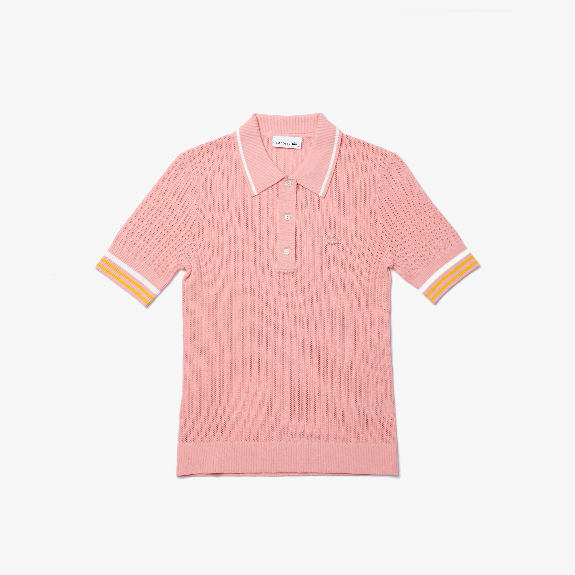 Women's Lacoste Slim Fit Striped Sleeve Knit Polo Shirt