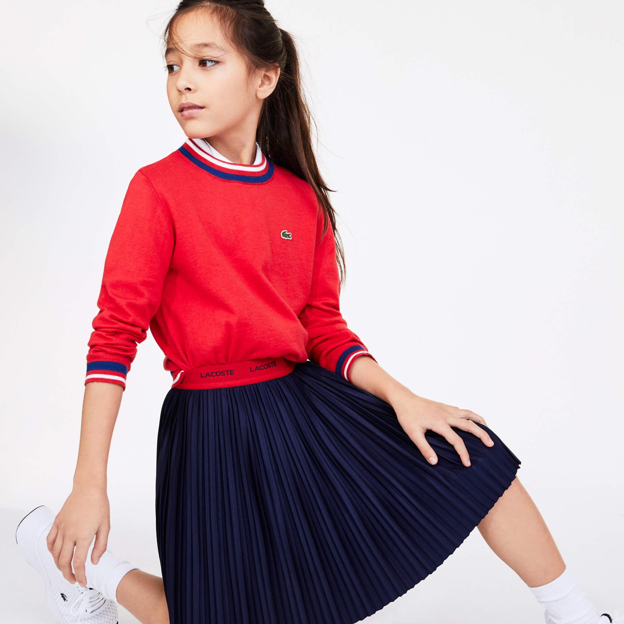 Girls' Contrast Waistband Pleated Knit Skirt