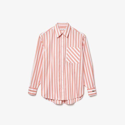 قميص بوبلين قطني مخطط نسائي كبير الحجم