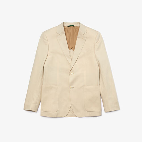 Men's Straight Fit Cotton And Linen Blend Blazer