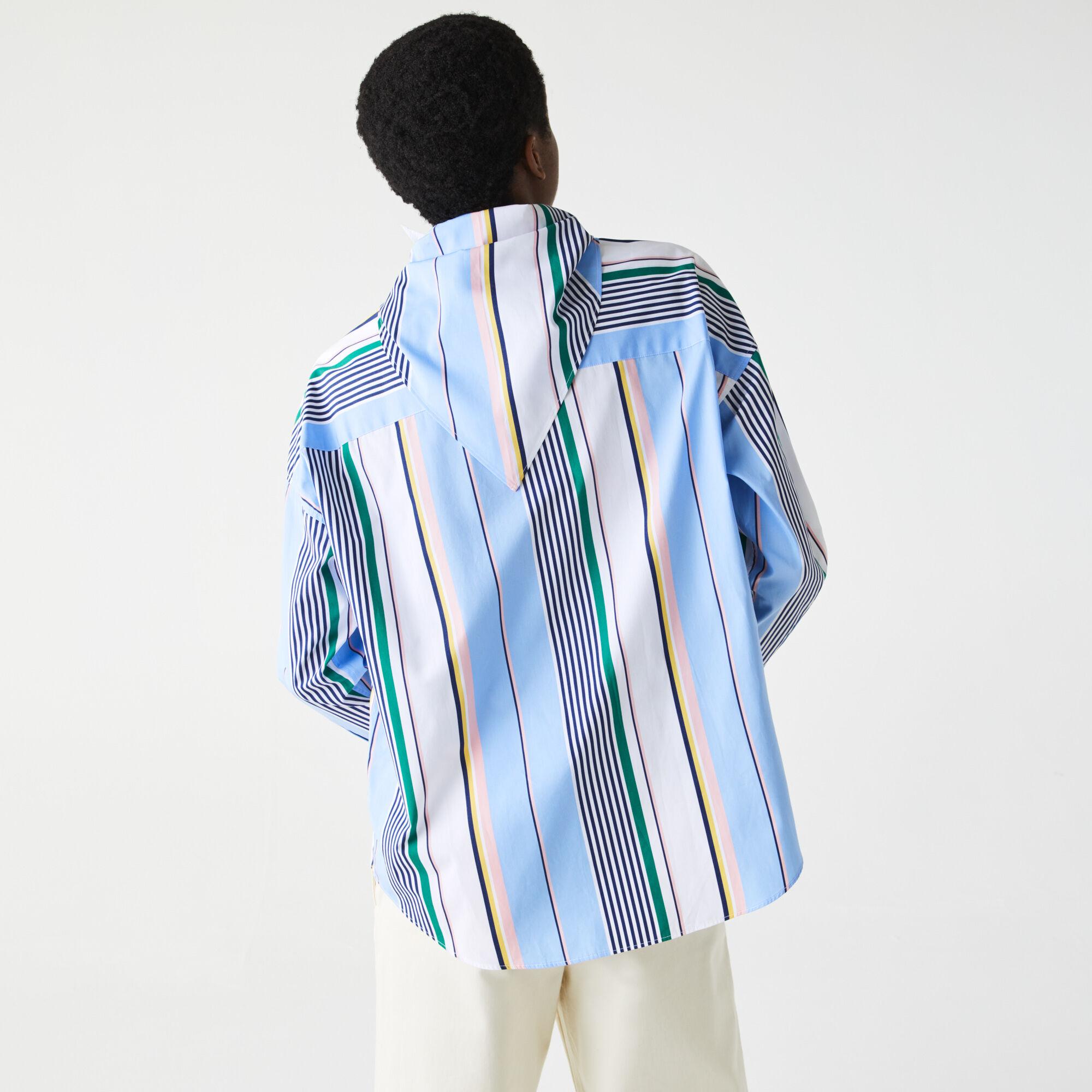 قميص قطني مقلم للنساء قصة كلاسيكية مع ياقة وشاح مجموعة Lacoste LIVE