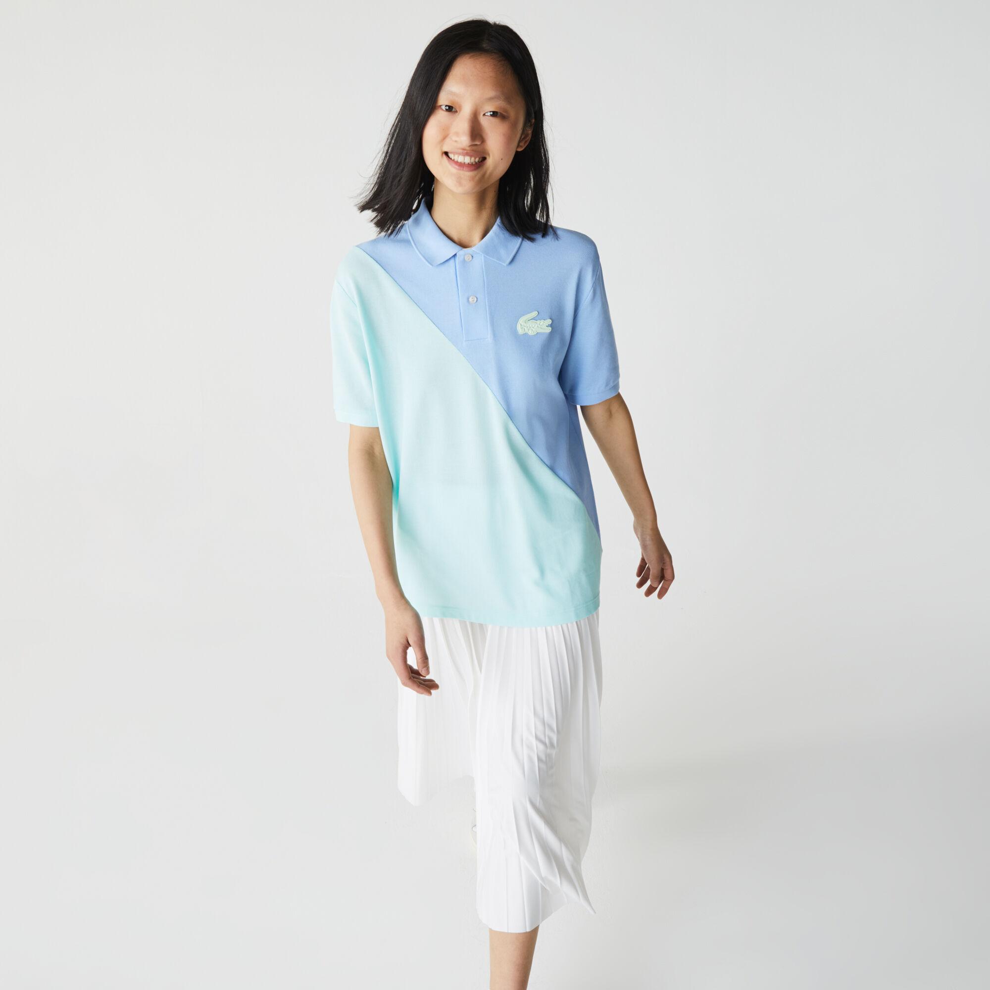 Unisex Lacoste LIVE Loose Fit Colorblock Cotton Piqué Polo