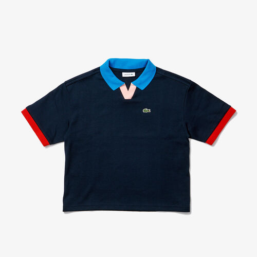 Girls' Lacoste Colorblock Accents Cotton Polo
