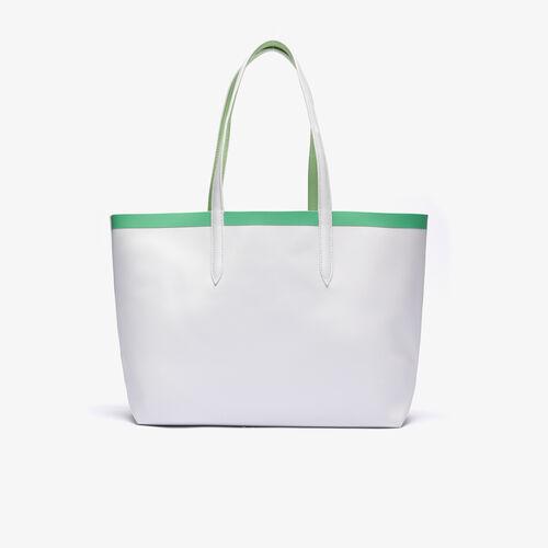 حقيبة توت من القماش المغلف بالبلاستيك يمكن استخدامها على الوجهين مع حزام بلون مختلف مجموعة Anna للنساء