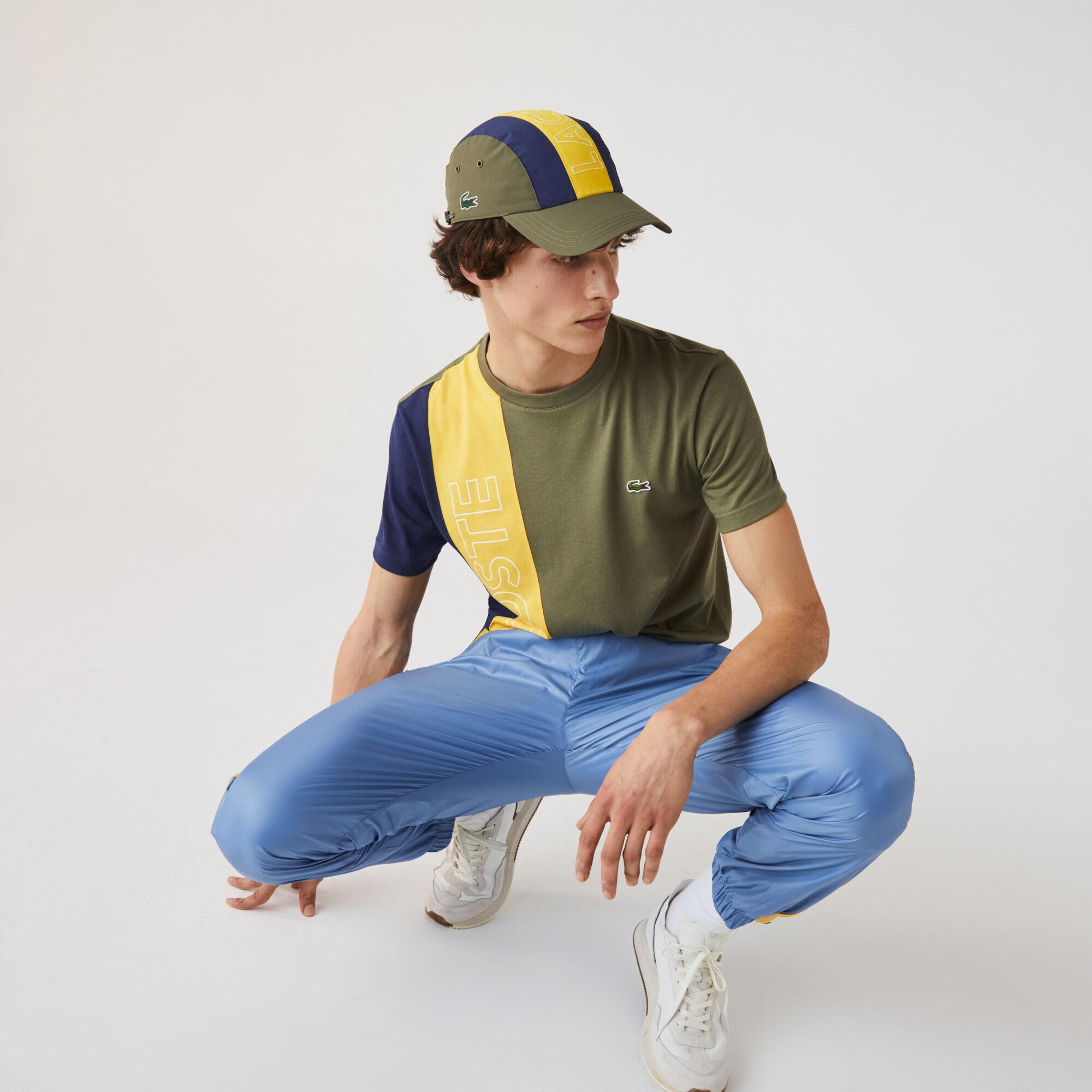Men's Crew Neck Lacoste Lettering Colourblock T-shirt