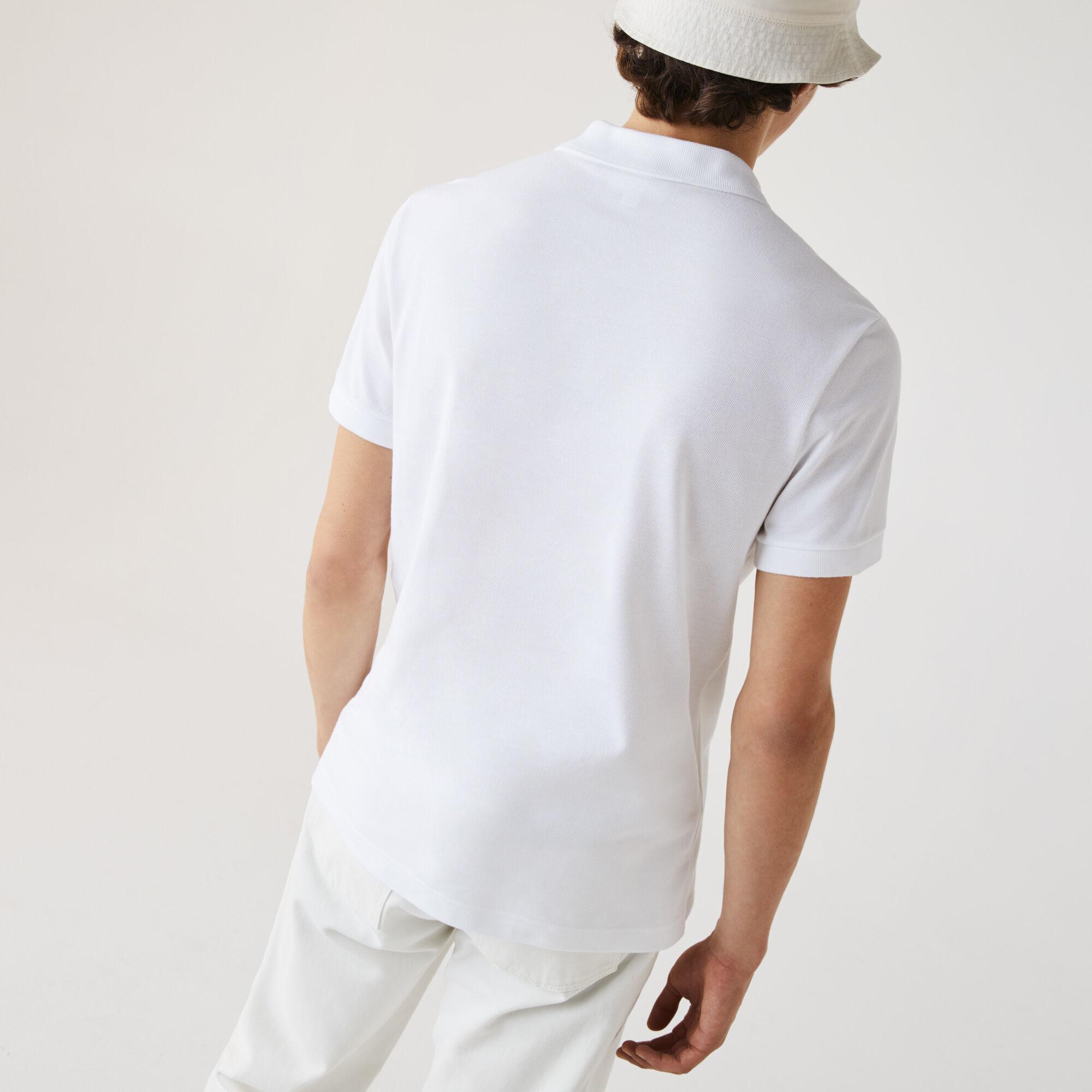 قميص بولو قطن للرجال بقصة عادية وشارة