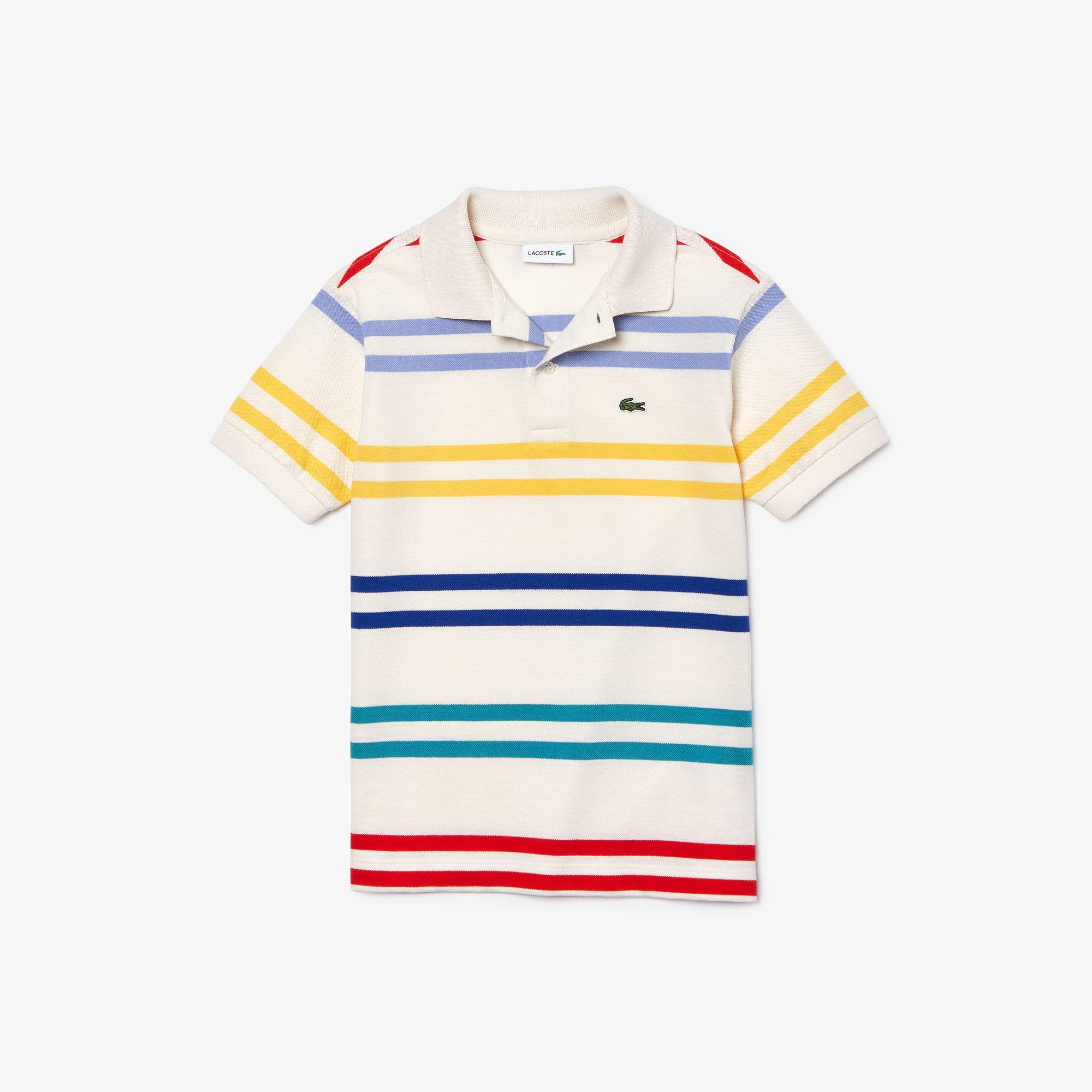 قميص بولو أولادي بخطوط ملونة من Lacoste