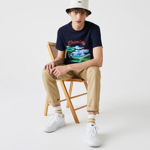 Men's Crew Neck Landscape Print Cotton T-shirt