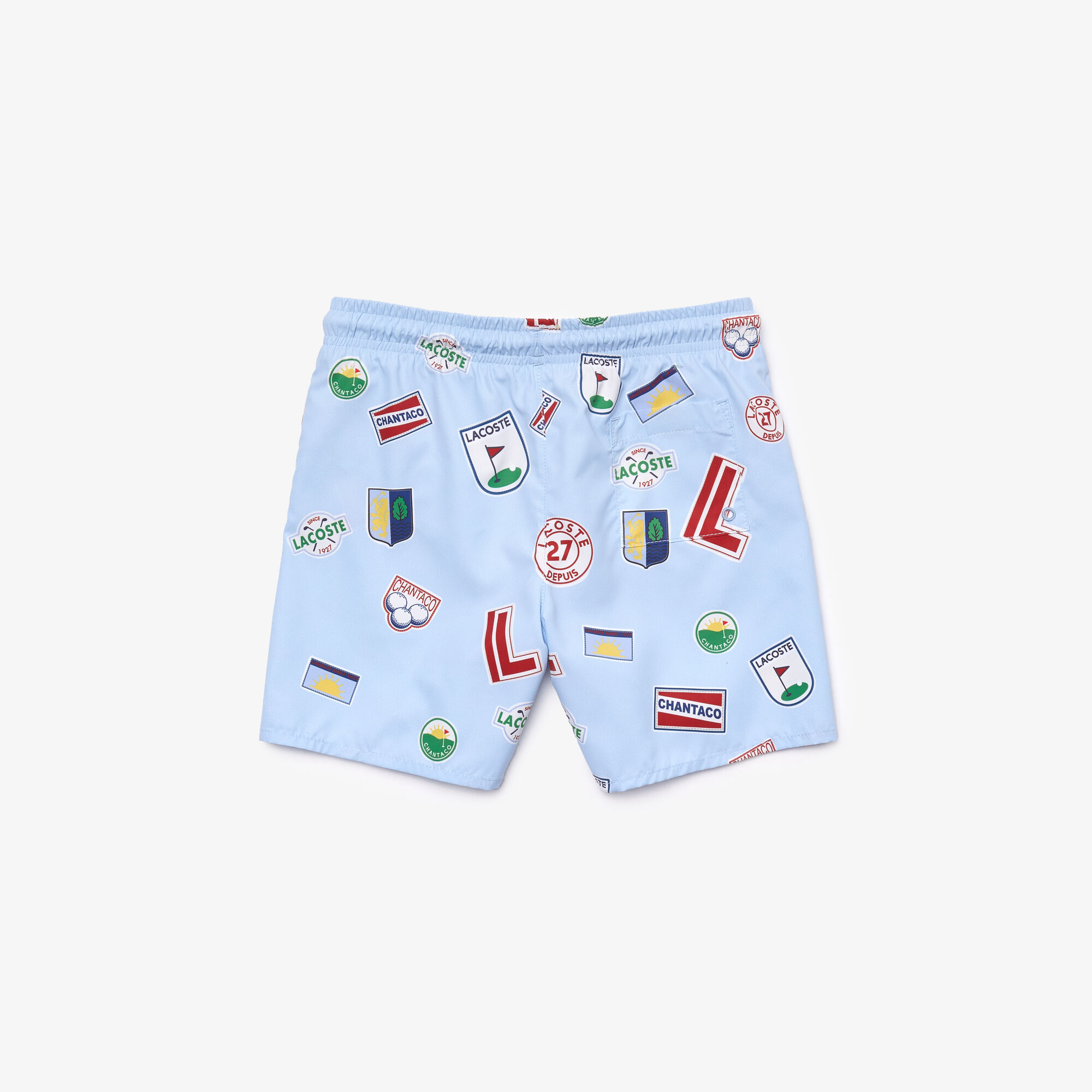 Boys' Quick-Dry Badge Print Swimming Trunks