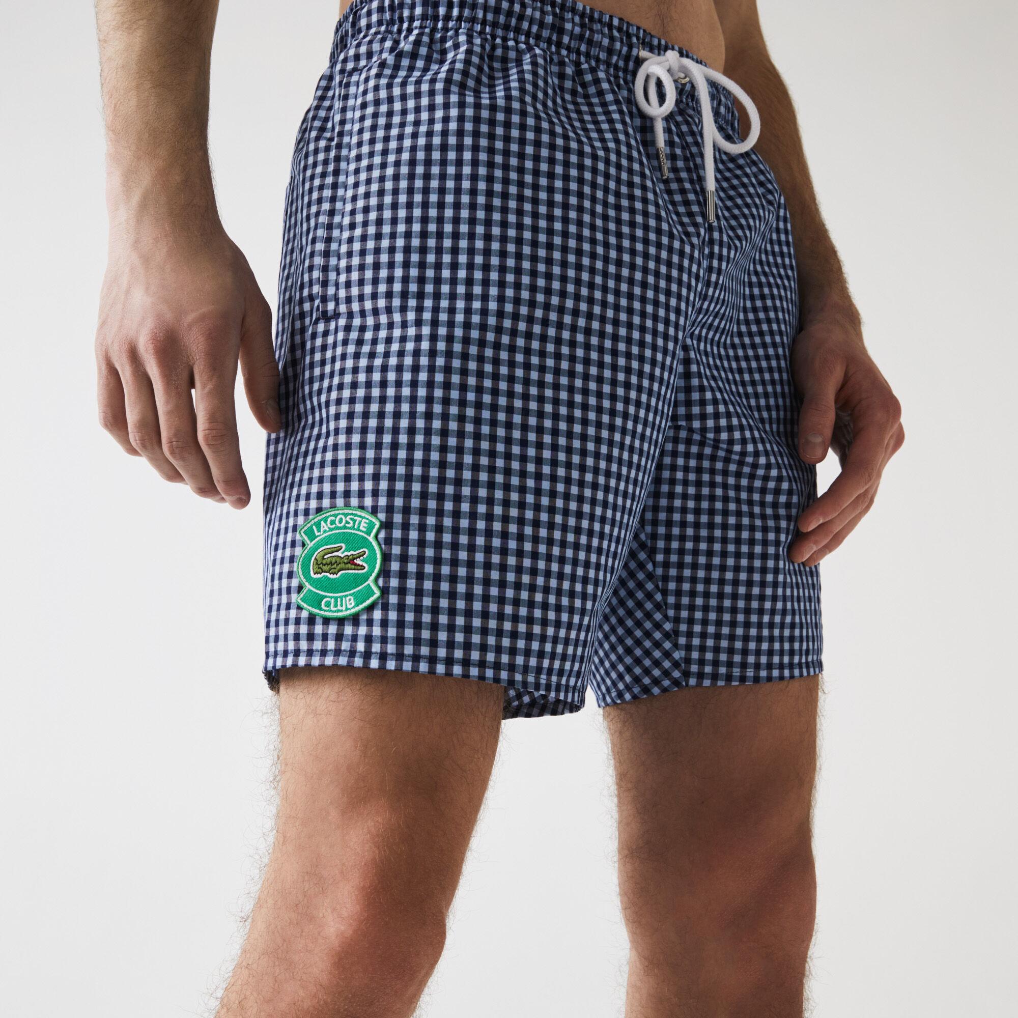 Men's Mid-Length Gingham Check Cotton Blend Swimming Trunks