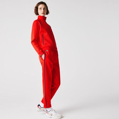 Women's Straight Cut Contrast Bands Tracksuit Pants