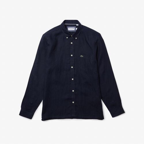 قميص من الكتان للرجال ذو قصة عادية