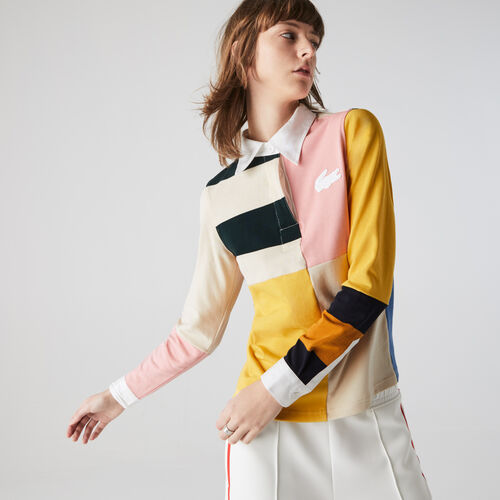 Women's Lacoste Live Colourblock Cotton Rugby Style Polo Shirt