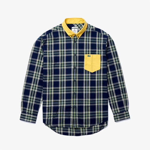 Unisex Lacoste Live Boxy Fit Check Cotton Shirt