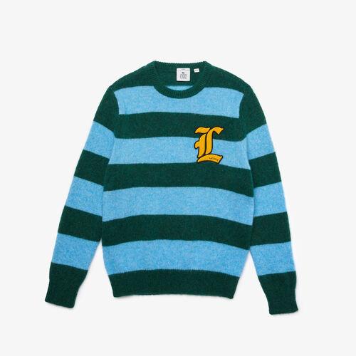 Unisex Lacoste L!ve Badge Striped Wool Blend Sweater